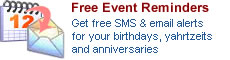 Personal Jewish Calendar: Free SMS & Email Alerts for your Birthdays, Yahrtzeit and Appointments